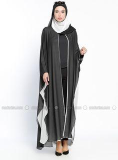 Black - White - Unlined - Crew neck - Abaya - Ferrace By Arzu Ergen