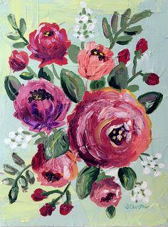 Pittura floreale originale OOAK di JessCStudio su Etsy