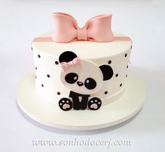 ♡ Panda Bear Cake, Bolo Panda, Panda Cakes, Teddy Bear Cakes, Panda Birthday Cake, Baby Birthday Cakes, Sandwich Torte, Panda Decorations, Panda Party