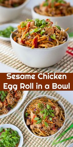 This low carb sesame chicken egg roll in a bowl is a delicious spin on the classic pork version that everyone knows and loves. Sesame Chicken Egg Roll in a Bowl Sesame Chicken Egg Roll in a Bowl Chicken Egg Rolls, Chicken Eggs, Chicken Wontons, Recipe Chicken, Crack Chicken, Low Carb Recipes, Diet Recipes, Healthy Recipes, Diabetic Dinner Recipes