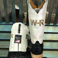 5c26962ab Custom Black Pirarucu Black Jack boots. Made in the USA!! #BigBassBoots  #Initials #MuleBarn #WhiteTopBoots #AmericanMade