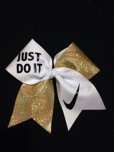 Nike shoes Nike roshe Nike Air Max Nike free run Nike USD. Nike Nike Nike love love love~~~want want want! Softball Bows, Cheerleading Bows, Cute Cheer Bows, Big Bows, Cheer Quotes, Cheer Hair, Cheer Dance, Nike Gold, Nike Free Runs