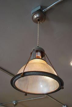 Repurposed Antique Holophane Pendant Light -- $275 & Antique Vint c1950 Industrial Holophane Pendant Light | Sinks ...