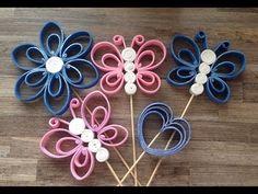 ♥♥♥ DIY DEKORACE MOTÝL ♥♥♥ - YouTube Paper Quilling Patterns, Quilling Paper Craft, Quilling Designs, Paper Crafts, Foam Crafts, Craft Stick Crafts, Crafts To Make, Crafts For Kids, Pen Toppers