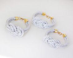 Bridesmaid Wedding Set of 3 Nautical Silk cord White by pardes, $40.00