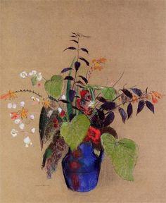Odilon Redon (1840-1916)  Flowers in a blue jug, 1910