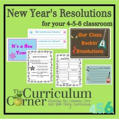 New Year's Resolution Printables for the Classroom, Free from The Curriculum Corner 456 - many different ideas to use!