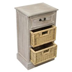 Urban Designs Weathered 3-Drawer Storage Chest Night Stand with Wicker Baskets 3