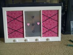 Old window repurposed to cork/magnet board