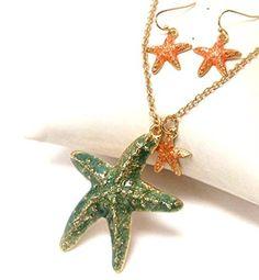 Sea Life Theme Painted Starfish Pendant Necklace Earring Set / AZNSSEA003-GGP  Price : $25.00 http://www.arrascreations.com/Painted-Starfish-Pendant-Necklace-AZNSSEA003-GGP/dp/B00LSZT3OK