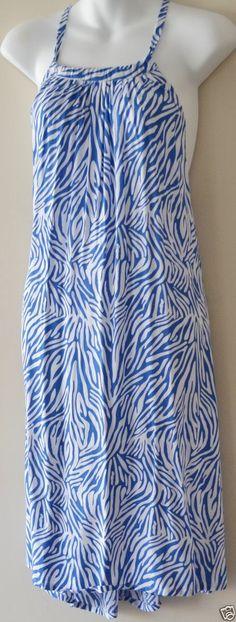 BOHO HIPPY CHIC SALE Ladies Blue White Printed Singlet Neck Tie Dress Size 8-14