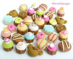 6 Assorted Polymer Clay Charms, Kawaii, Miniature Pastry, Cupcake, Chocolate, Donut, DIY, craft, handicraft material, Accessories