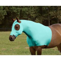 Teal Sleazy Sleepwear for Horses Large Solid Zipper Stretch Hood
