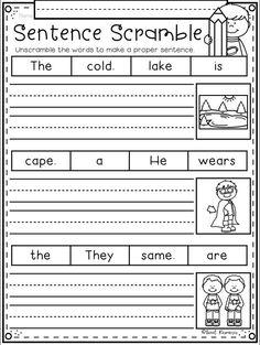1st Grade Writing Worksheets, English Worksheets For Kids, First Grade Writing, School Worksheets, Kindergarten Writing, Teaching Writing, Preschool Learning, Kindergarten Worksheets, Writing Skills