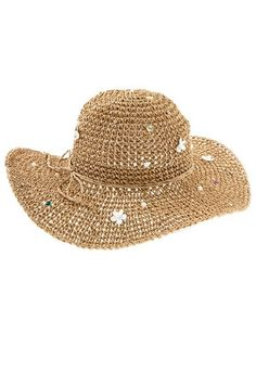 Womens Multi-Color Gem Studded Ivory Pearl Accent Wide Brim Beach Sun Hat - Brown  Style No: FGN-A_134445 This fun wide brim floppy hat has a 4 1/2