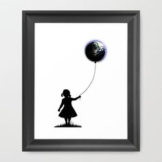 The Girl That Holds The World - White  #girl #balloon #universe #planet #earth
