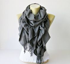 Scarf ,Ruffle scarf  ,Pashmina ruffle scarf ,long scarf, in dark grey  - CHOOSE YOUR COLOR on Etsy, $19.90