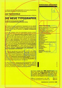 Design firm AdamsMorioka demonstrate how the Golden Section, also known as the Golden Mean, Golden Ratio or Divine Proportion, is used extensively in Swiss Typography. Here they demonstrate it's use in a piece by Jan Tschicold Grid Design, Type Design, Layout Design, Web Design, Graphic Design, Graphic Art, Design Editorial, Johann Wolfgang Von Goethe, Buch Design