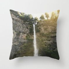Nature Waterfall Photo Pillow Cover - Multnomah Falls Oregon Throw Pillow Cover - Includes Pillow Insert - Pacific Northwest - Made to Order (54.00 USD) by ShelleysCrochetOle