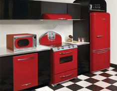 Everything smeg (and everything red) - too much but I love those checkerboard floors!