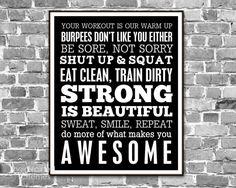 Fitness Subway Art Poster - Funny Bootcamp Exercise Motivational Inspirational Digital Art Print - Athlete Gym Decor Black and White Art