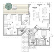 Villa Dalarö från A-hus Bungalow, Villa, Sims 4 Houses, Compact Living, House Blueprints, Japanese Architecture, House Layouts, Home Interior Design, Planer