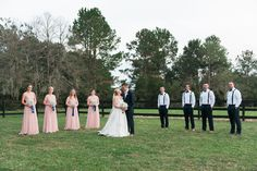 Outdoor, Southern Bridal Party Wedding Portrait | Blush Pink Adrianna Papell Bridesmaid Dresses with White Sweetheart Galina by David's Bridal Wedding Dress with White Wedding Bouquet | Wedding Makeup Artist Michele Renee The Studio | Tampa Bay Wedding Photographer Kera Photography