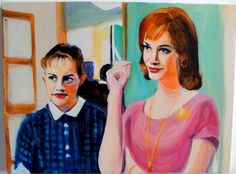 """""""Red and Peggy in the Office"""" ~ from Caroline Wampole's """"Mad Men"""" series of paintings"""