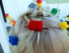 Boy (or girl) idea for Crazy Hair Day.  Hot glue lego pieces to bobby pins and clip throughout hair.  My son's hair was a big hit at preschool this morning!