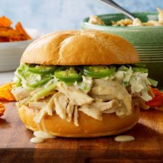 Not your ordinary pulled turkey sandwich, this one shines thanks to its unique yogurt sauce. Serve the turkey by itself or stack on sweet pickle slices and jalapenos to echo the dressing. Turkey Tenderloin Recipes, Turkey Recipes, Chicken Recipes, Turkey Dishes, Slow Cook Turkey, Cooking Turkey, Slow Cooker Recipes, Crockpot Recipes, Cooking Recipes