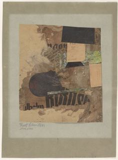 "Kurt Schwitters 'Eins Eins (One One)', Cut and pasted printed and painted papers on paper on colored cardstock, 10.25"" x 9.25"", 1919-1920"