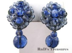 Vintage MADE IN WESTERN GERMANY Blue Glass Cluster Beaded Dangle Clip Earrings
