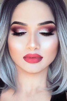 21 MAKEUP IDEAS FOR SAINT VALENTINE Need new make-up ideas to celebrate Valentine's Day? Our team has prepared for you, ladies, a surprise: a photo gallery. Make up Homecoming Makeup, Prom Makeup, Cute Makeup, Gorgeous Makeup, Pretty Makeup, Makeup Looks, Bride Makeup, Pageant Makeup, Romantic Makeup