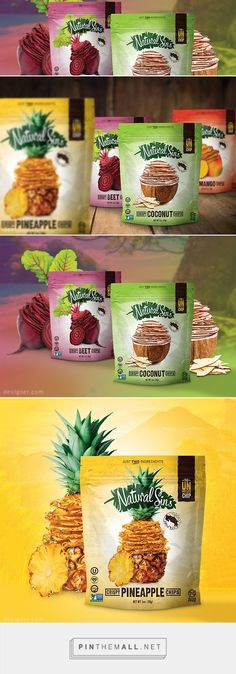 To reintroduce its unique line of crispy mango, pineapple, coconut, and beet chips, Natural Sins needed a packaging design that could show retail customers and health-conscious consumers that it was much more than a chip off the old block. Chip Packaging, Packaging Snack, Biscuits Packaging, Pouch Packaging, Food Packaging Design, Packaging Design Inspiration, Brand Packaging, Jugo Natural, Chips