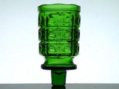 Peg Votive Holder Vintage Green Blocks with Gentle Scalloped Rim Rare Height: 3.75 inches (including stem) Width: 2 inches Highly detailed vintage holder Color:  Green Material: Glass Rare Style