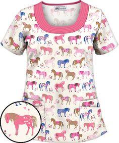 Springtime Gallop Pink U-Neck Scrub Top Vet Scrubs, Medical Scrubs, Nursing Scrubs, Nursing Tips, Scrubs Outfit, Scrubs Uniform, Veterinary Scrubs, Veterinary Medicine, Scrubs Pattern