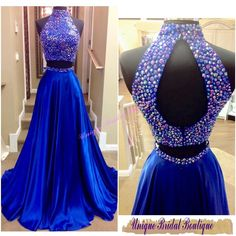 Dress For Prom 2016 Beaded Neck Prom Dresses With Sexy Keyhole Back And Rhinestones Real Pictures High Neck Beaded Royal Blue Satin Two Pieces Prom Gowns Dresses Prom From Uniquebridalboutique, $157.54| Dhgate.Com