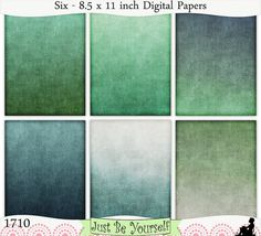 Instant Download Shabby Green Hues Digital Papers Set of 6 - 8.5 x 11 inch Printable Sheets JPEG & PDF (1710)