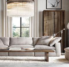 The Petite Cloud Cube Modular Sofa Living Room Sofa, Living Room Decor, Living Spaces, Restoration Hardware Living Room, Restauration Hardware, Oak Panels, Modular Sofa, Deco Table, Living Room Inspiration