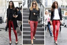 Red leather pants