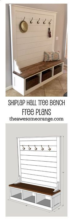 Plans of Woodworking Diy Projects - FREE Plans from www.theAwesomeOra... - Shiplap Hall Tree Bench #diy #build #mudroom #bench Get A Lifetime Of Project Ideas & Inspiration! #woodworkingbench