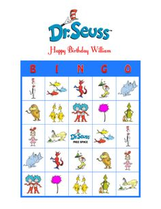 Seuss Cat in the Hat Lorax Personalized Birthday Party Game Bingo Cards in Everything Else, Every Other Thing Dr Seuss Birthday Party, Baby 1st Birthday, Birthday Party Games, First Birthday Parties, All You Need Is, Happy Birthday William, Bingo Card Template, Printable Images, Literacy Day