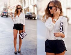 Short shorts + White blouse + Gold accessories