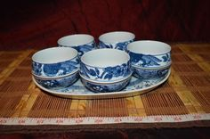 Asian Porcelain Blue and White Floral Design 5 Tea Cups w/ Tray