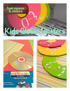 DIY closet dividers, trace around cd and use foam