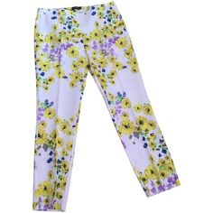 Pre-owned Summer pants (8.445 RUB) ❤ liked on Polyvore featuring pants, black, floral print pants, floral print trousers, wet look pants, side zip pants and summer trousers