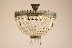 CUPOLA Kristall, Deckenleuchte, 3-flammig, grün-antik mit Gold patiniert