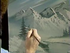 Bob Ross paints a wintry mountain scene using only Grey and White tones Season 2 of The . Bob Ross Paintings, Happy Paintings, Painting Videos, Painting & Drawing, Pictures To Paint, Art Pictures, Bob Ross Art, The Joy Of Painting, Learn To Paint