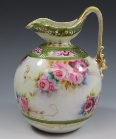 Hand Painted Nippon Gold  Roses Milk Pitcher or Jug |