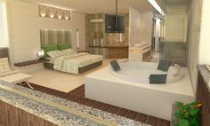 Home Bedroom, Master Bedroom, Bedroom Decor, Bedroom Ideas, Jacuzzi Room, Open Bathroom, Dream Shower, Suites, Small House Plans